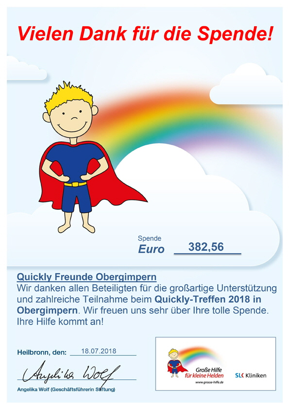 Quickly-Freunde-Obergimpern-Spendenurkunde